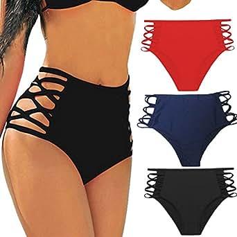 CROSS1946 Sexy Women's Bikini Retro High Waisted Strappy Brief Bottom Solid Tankini Swimsuit Black Small