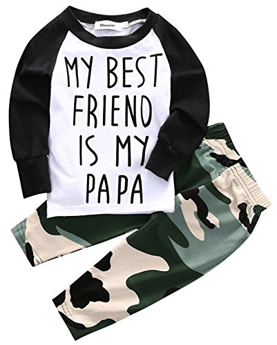 2Bunnies Baby Boy My Best Friend is Papa Daddy T-shirt Camouflage Pants Outfit 2 Piece Clothing Set (6-12 Months) (Friends 6 Piece)