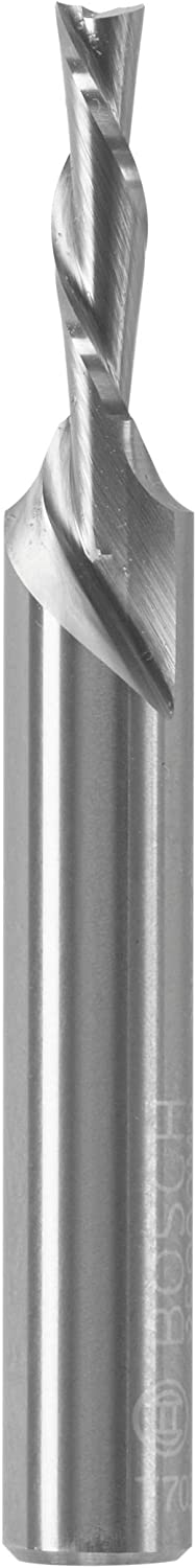 Solid Carbide Double-Flute Downcut Spiral Router Bit x 1//2 In Bosch 85900MC 1//8 In