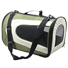 Pet Life Airline Approved Sporty Mesh Zippered Folding Collapsible Designer Fashion Pet Dog Carrier, Green and Khaki, Large