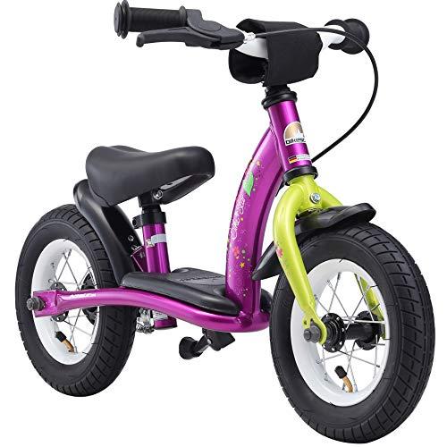 🥇 Bikestar Bicicleta de Equilibrio para Correr con Lateral y Freno para niños de 2 años de Edad   edición clásica de 10 Pulgadas   Berry & White