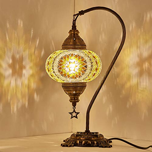 (18 Variations) Newest CopperBull 2018 Turkish Moroccan Tiffany Style Handmade Mosaic Table Desk Bedside Night Swan Neck Lamp Light Lampshade, 42cm (15) (Mirror Mosaic Table)
