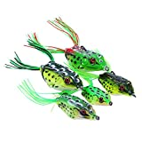 Goture Topwater Hollowbody Frogs for Freshwater Bass Fishing Soft Lure Kit Set Lot Pack (4.1oz/2.2'' 5pcs With Box)