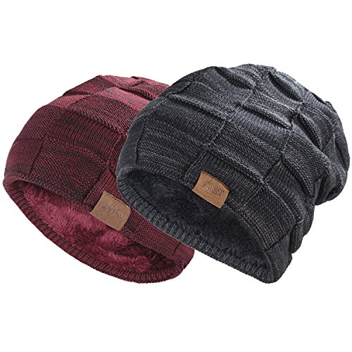 REDESS Beanie Hat For Men and Women Winter Warm Hats Knit Slouchy Thick Skull Cap Variegated Mix-Black Wine Red Pack Of 2 - Black And Mix Red