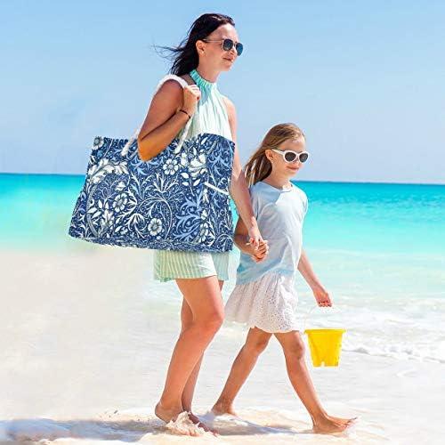 MORITAレディース トートバッグ ビーチバッグ 手持ち 肩掛け アウトドア スポーツ カジュアル 母の日 ギフト アールヌーボー 海藻花柄 コバルトブルーおよび白