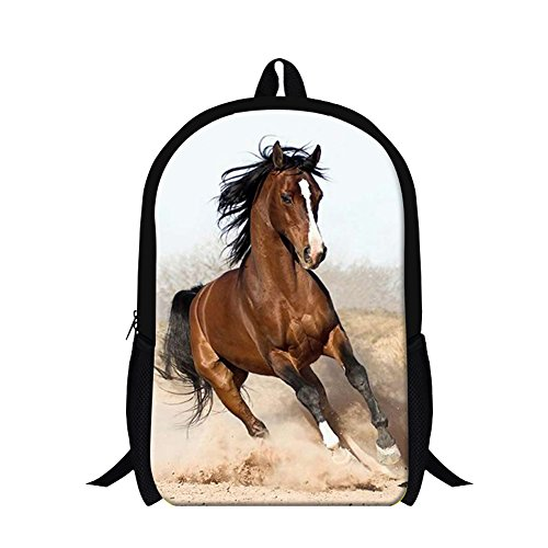 Creativebags Teenager Casual Backpack Animal Horse 3D Design printing 16 Inch