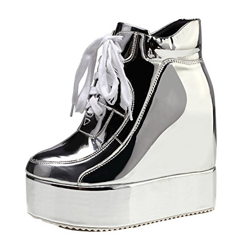 getmorebeauty Womens Hidden High Heel Platform Sneakers Wedge Lace up Chelsea Punk Patent Ankle Boots Silver