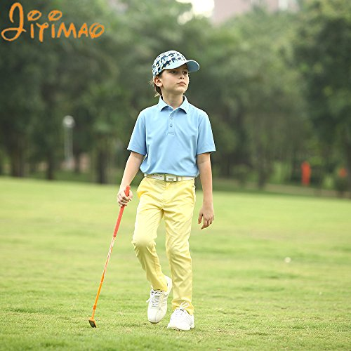 JITIMAO Boys Golf Dry Fit Polo Shirt Age 5-15, Breathable Performance Short Sleeves T-Shirt Slim Fit