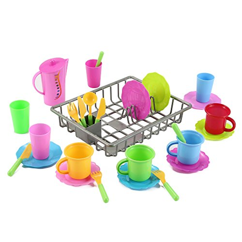 Liberty Imports Kids Play Dishes Kitchen Wash and Dry Tea Playset - 27 Pieces