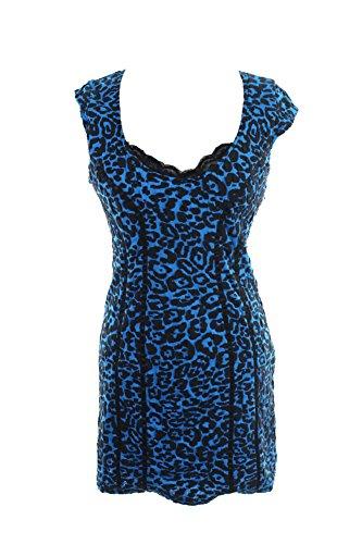 Animal Print Lace Trim (Guess Womens Animal Print Lace Trim Party Dress Blue S)