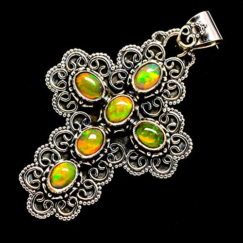 Ana Silver Co Natural Ethiopian Opal Cross 925 Sterling Silver Pendant 2 1/4