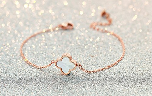 Van Cleef And Arpels Jewellery - P.phoebus 18K Rose Gold Plated Vintage Swarovski Crystal White Pearl Flower Rhinestones Dangle Charm Bracelet For Women Girls (3)