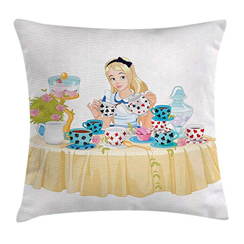 JUNN Alice in Wonderland Throw Pillow Cushion Cover, Alice Pours Cup of Tea with Cupcakes Flowers in Wonderland Fantasy, Decorative Square Accent Pillow Case, 18 X 18 Inches, Multicolor