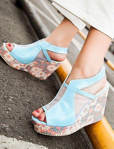 ShangYi Womens Shoes Heel Heels / Peep Toe / Platform Sandals / Heels Outdoor / Dress / Casual Blue / Pink / White/668-3 White