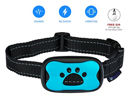 No Bark Collar dog Training . NO SHOCK . Vibration & Sound Humane Device for Bark Control and Train Your Pet - 7 Sensitivity level by AVA Electric