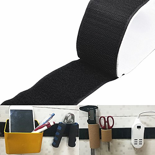 2 inch x 3.3 Feet Strong Tape Double Sided Self Adhesive Black Sticky Hook Loop Mounting Strip Reuse Removable Wall Fastener Tape, for Indoor Outdoor Home School Office Use