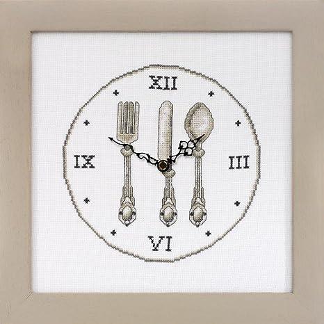 El mercadillo en casa Reloj Cubiertos para Bordar A Punto DE Cruz: Amazon.es: Hogar