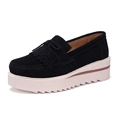 Zapatos Planos De Las Mocasines De Las Mujeres Zapatos Borla De Cuero De Ante Slip En Mocasines Fringe Enredaderas Casuales Calzado De Damas: Amazon.es: ...