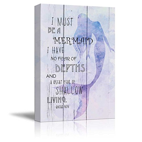 Wall26 - Purple Watercolor Mermaid with Quote - I Must Be a Mermaid I Have No Fear of Depths and a Great Fear of Shallow Living - Canvas Art Home Decor - 12x18 inches