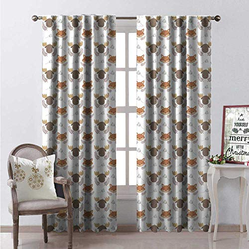 (Hengshu Animals Room Darkening Wide Curtains Folk Style Animal Icons on a Plain Background Decor Curtains by W96 x L96 Cocoa Dark Sand Brown Pale Rust Dark Tan)