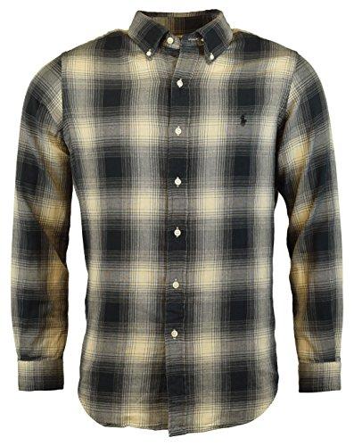 Polo Ralph Lauren Mens Regular Fit Plaid Flannel Shirt - S - Grey/Cream