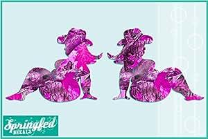 "Pink Camo Fat Country Mud Flap Girl Vinyl Decal 4"" Car Truck Window Mudflap Girls Sticker"