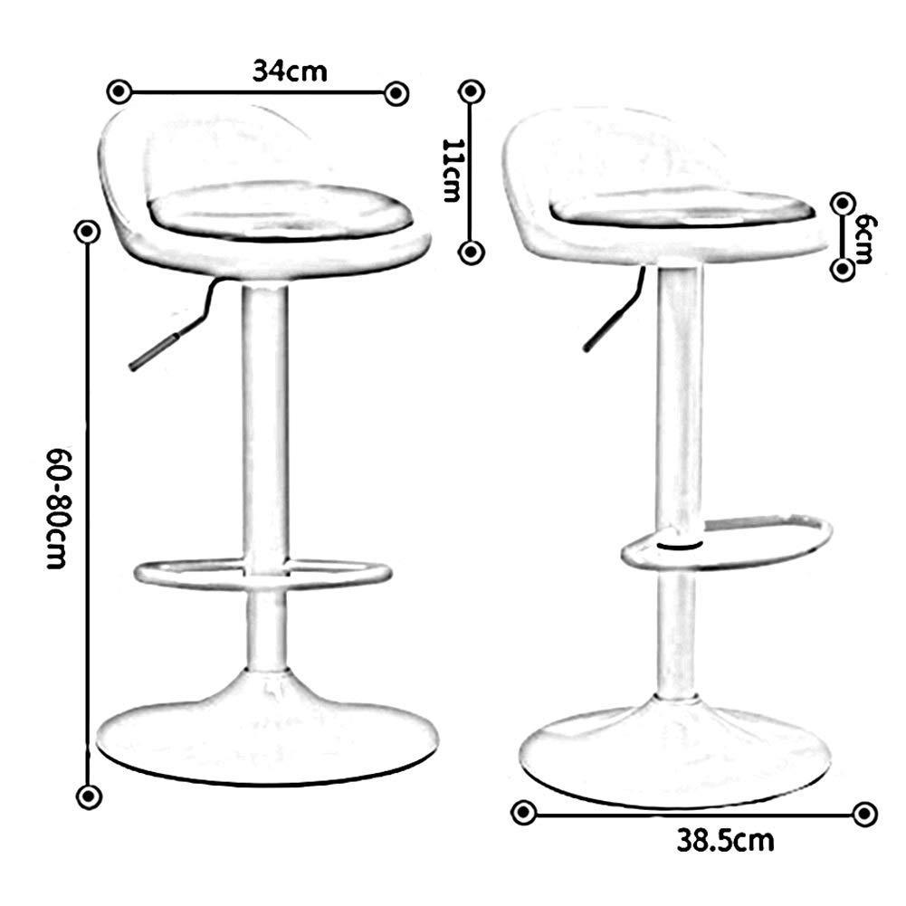 JIEER-C Fritidsstolar barstolar PU-säte hög stol 360° rotation justerbar gaslyft metallbas kök matpallar fotstöd hållbar stark Röd