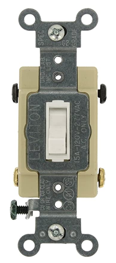 Leviton 54504-2W 15-Amp, 120/277-Volt, Toggle Framed 4-Way AC Quiet ...