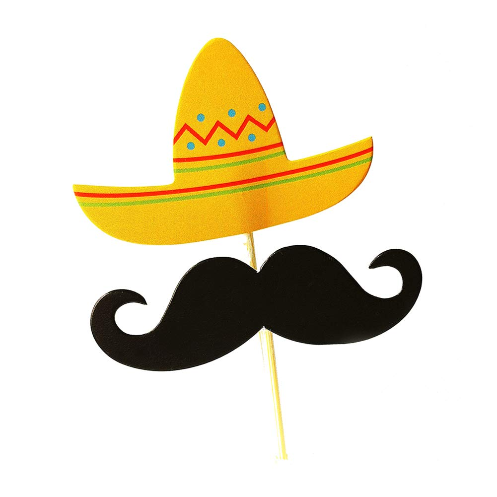 Sombrero del bigote de la torta de 12pzas sombrero de la torta recogida fiesta de cumpleaños de la torta de la decoración de estrellas de mar bigote primero de la magdalena