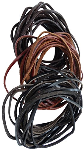REED Genuine Leather Cord Braiding Lace Strings for Leather Crafts and Jewelry Making of Necklaces, Bracelets (3 mm) 15 yd., Black/Brown/Dark Brown Leather Braiding Supplies