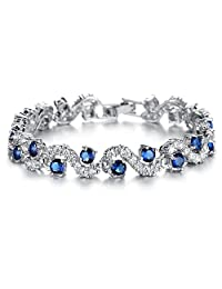 Tennis Bracelet with Blue Simulated Sapphire Zirconia Crystals 18 ct White Gold Plated for Women
