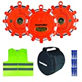 SecurityMan LED Road Flares with Safety Vest | Perfect Emergency Kit for Roadside & Marine Boat Hazards | Super Bright Warning Beacon / Flashing Distress Light | Car & Truck Magnetic Base  (3 Pack)