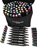 Togood 60 Different Colors Art Sketch Twin Marker Pens,Dual Tips Broad Fine, Professional