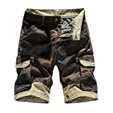Realdo Men's Casual Shorts, Slack Loose Button Zipper Camouflage Pants with Pocket(Khika,34)