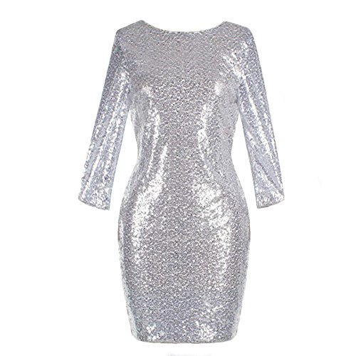 Women's 3/4 Half Sleeve Sexy Deep V Neck Shiny Sequin Cocktail Glitter Bandage Bodycon Dress Short Stretchy Sparkly Pencil Wedding Bridesmaid Club Mini Party Dress Evening Prom Clubwear Silver XL