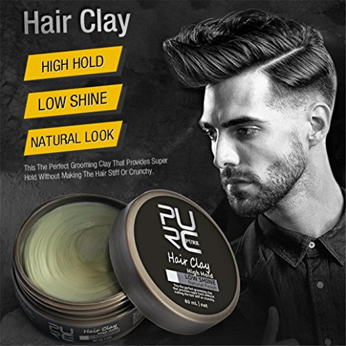 Ikevan 80ml Men's Modeling Hair Mud,Strong stereotypes of Mud,Keep High Gloss Natural Hair Appearance Hair Ointment Men's Modeling Hair Mud Touch Human Hairpiece