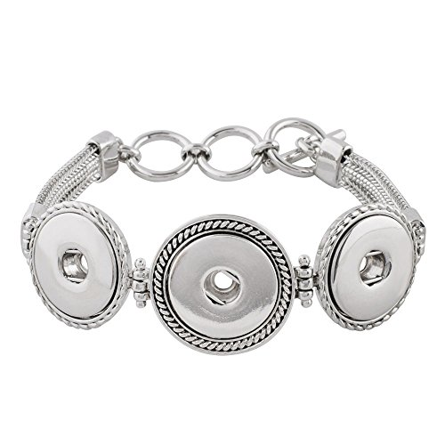 My Prime Gifts Snap Jewelry Toggle Strand Bracelet Length 7.5-8.5'' Holds 3 18-20mm Standard Snaps by My Prime Gifts