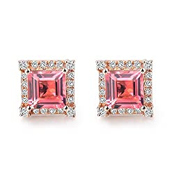 Rose Gold Sapphire Ruby Diamond Earring