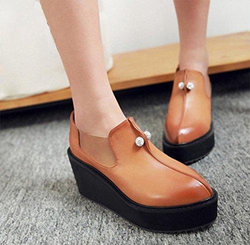 Dameneinzel Schuhe Retro-Schuhe mit dicken Sohlen lahm Frau Perle Muffin Aufzug Schuhe spitze Schuhe yellow