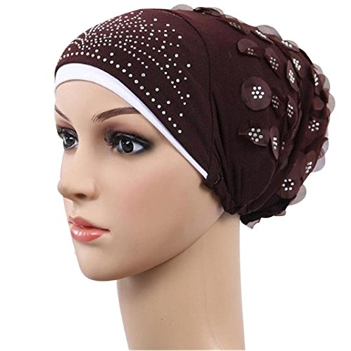 Tied Fashion Scarf (Qingfan Women Fashion Muslim Stretch Turban Hat Chemo Cap Beanies Head Wrap Scarf for Cancer (Coffee))