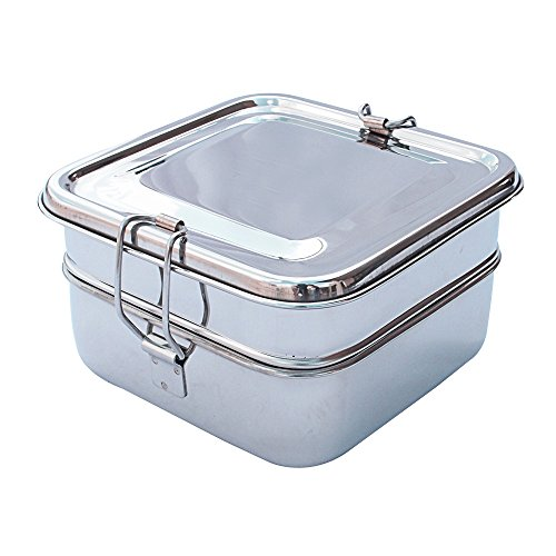 HealthAndYoga(TM) Double Decker Stainless Steel Lunch Box | the Healthier ()