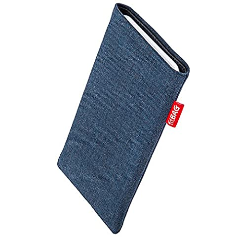 fitBAG Jive Blue custom tailored sleeve for Nokia 6233. Fine suit fabric pouch with integrated MicroFibre lining for display (Nokia 6233 Case)