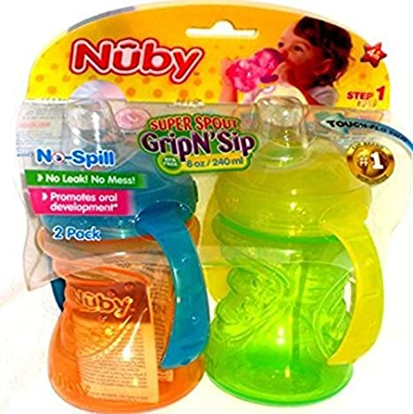 Nuby 2-Pack Two-Handle No-Spill Super Spout Grip N' Sip Cups, 8 Ounce, Pink and Purple 92545