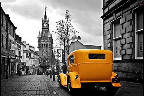 makeuseof C290 Yellow Retro CAR London Streets Auto Poster A