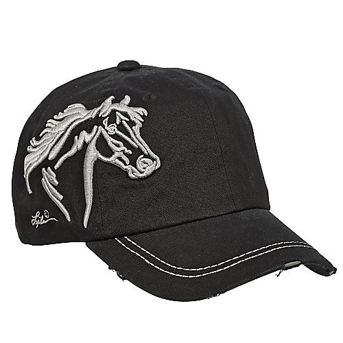 Horse Head Raised Embroidery Hat Black