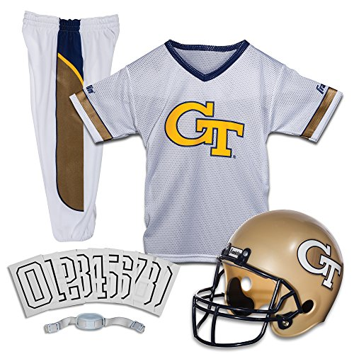 College Football Team Helmets - Franklin Sports NCAA Georgia Tech Yellow Jackets Deluxe Youth Team Uniform Set, Small
