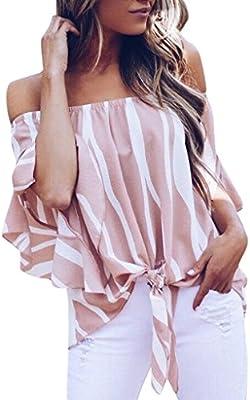 Blusa Mujer Elegante Sexy 2018 Camiseta de Mujer a Rayas con ...