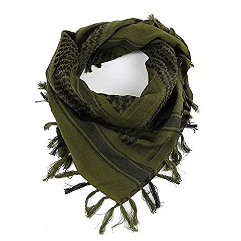 Premium Military Shemagh Scarf Tactical Desert Arab Head Neck Scarf Wrap (Army Green) (Palestinian Scarf For Men)