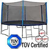 Zupapa® 15 14 12 Ft TÜV Approved Trampoline with Enclosure net and pole & Safety Pad & Ladder & Jumping Mat & Rain Cover