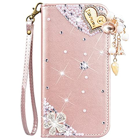 iPhone SE Case, iPhone 5 5S Case, CinoCase Luxury 3D Bling Crystal Shiny Rhinestone Wallet Leather Purse Flip Card Pouch Stand Cover Case with Lovely Heart Pendant for iPhone 5/5S/SE - Rose (Flip Cover Iphone 5 Bling)
